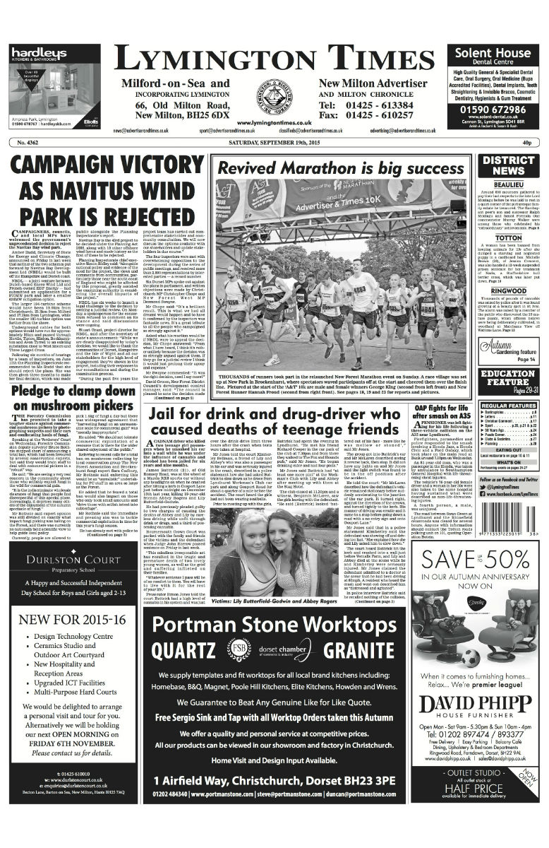 38 Lymington Times FRONT
